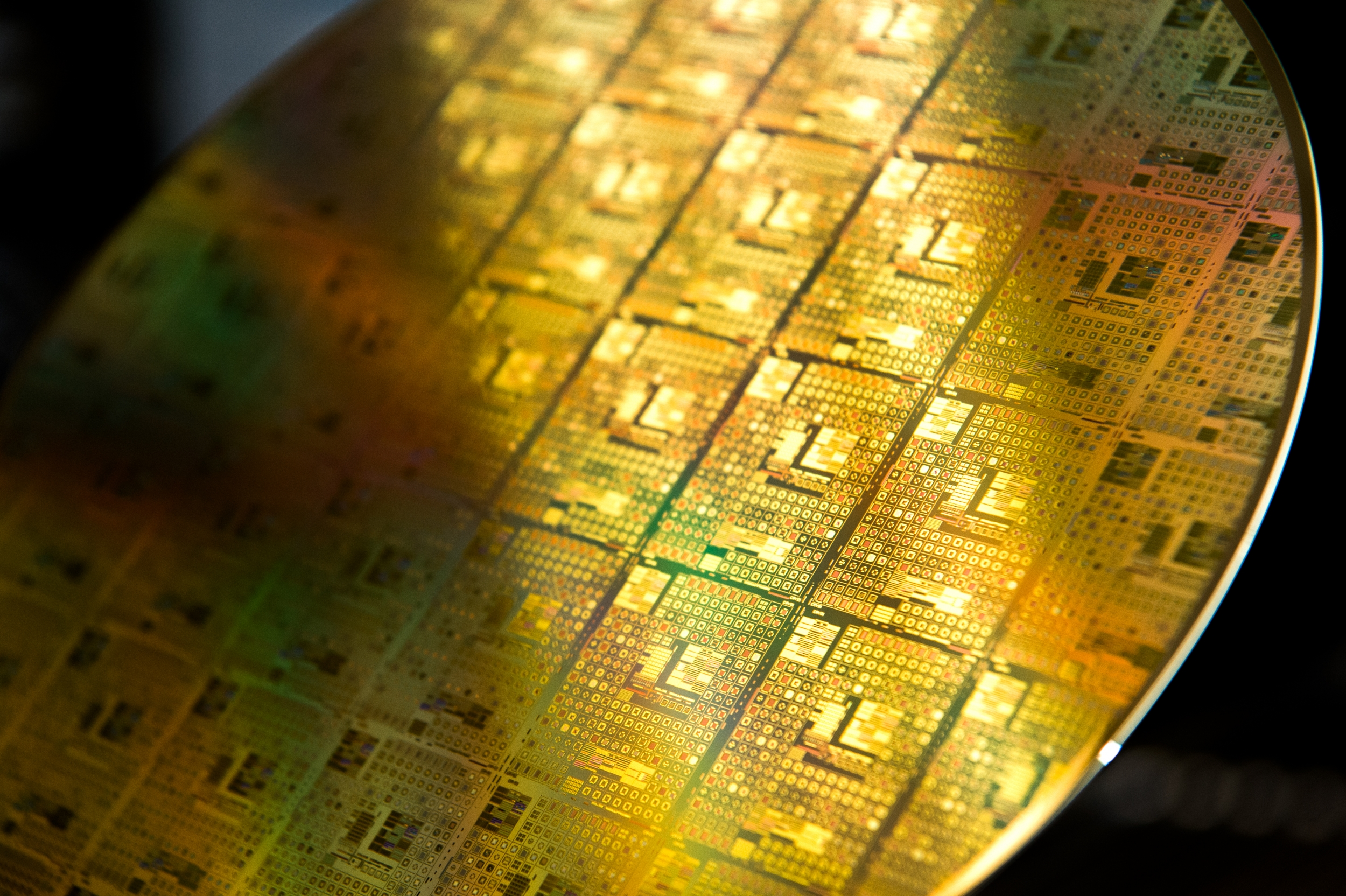 A fully depleted silicon-on-insulator complementary metal oxide semiconductor (FD-SOI CMOS) circuit wafer.
